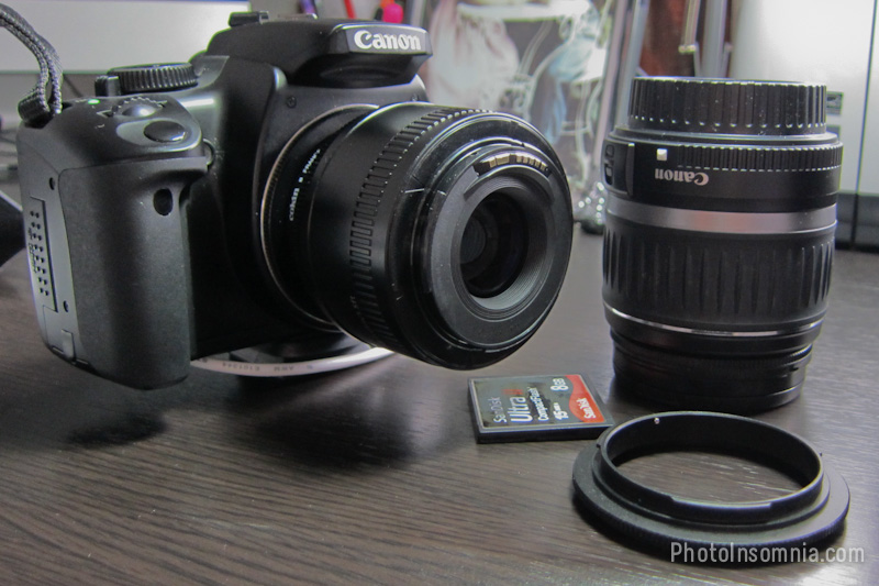 Canon EOS with Reverse Mount 50mm