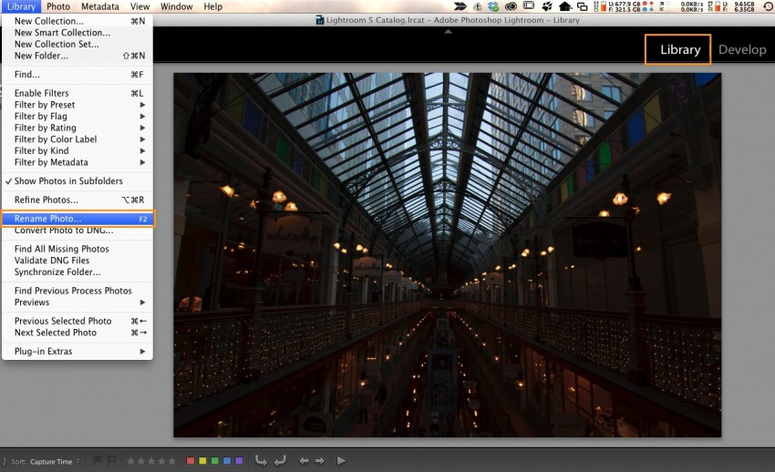 Lightroom Rename Photo Menu