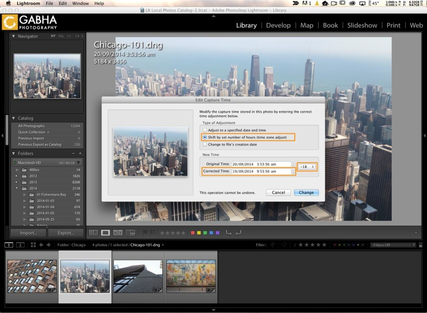Options - Editing Capture Time - Lightroom