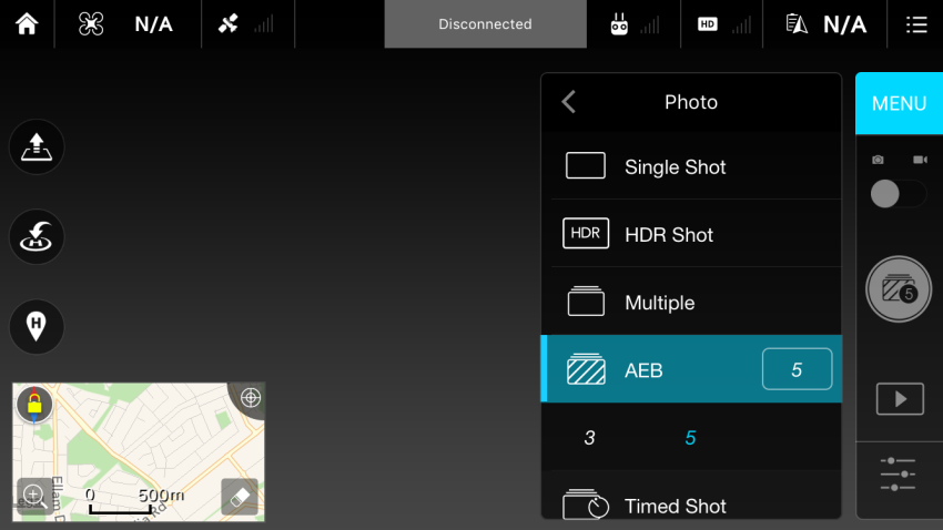 Bracketing Options DJI GO App now